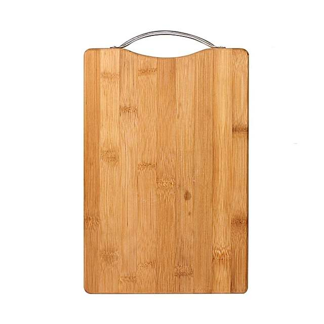 Wooden Bamboo Kitchen Chopping Cutting Board With Steel Handle